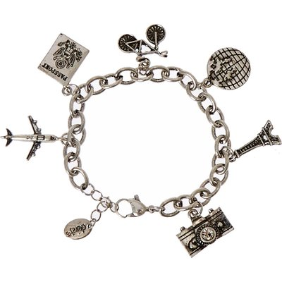 Silver-Tone Travel Themed Charm Bracelet