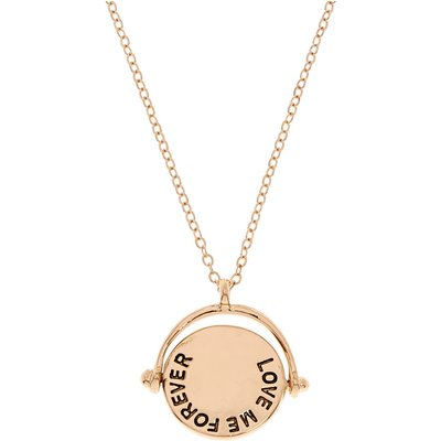Gold-Tone LOVE ME FOREVER OR NEVER Double Sided Flip Necklace