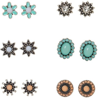 Mint and Pink Floral Motif Stud Earrings