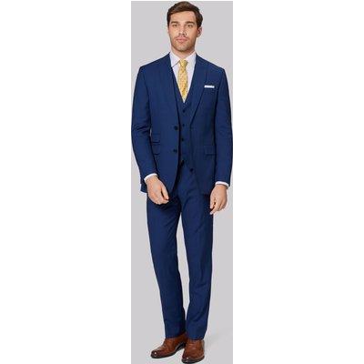 Moss 1851 Tailored Fit Bright Blue Sharkskin Jacket