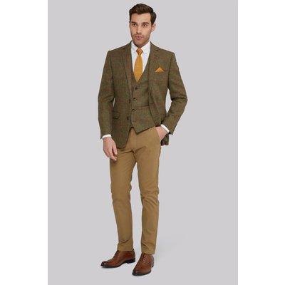 Moss 1851 Tailored Fit British Wool Tan Red Windowpane Jacket