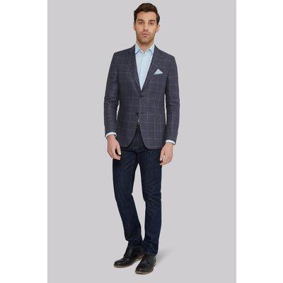 Moss 1851 Tailored Fit Dark Grey Windowpane Linen Jacket
