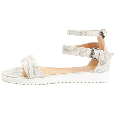 Gwen Snake Print Leather Lizard Sandal, White