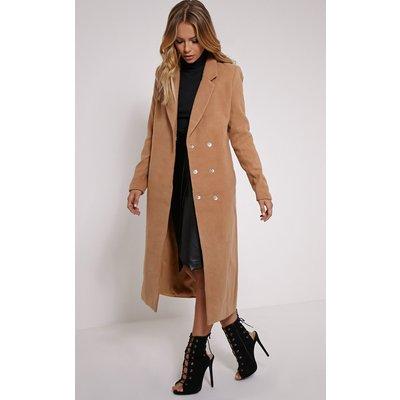 Salana Camel Longline Double Breasted Coat, Camel
