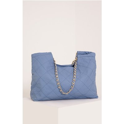 Shay Baby Blue Quilted Chain Strap Shopper Bag, Blue