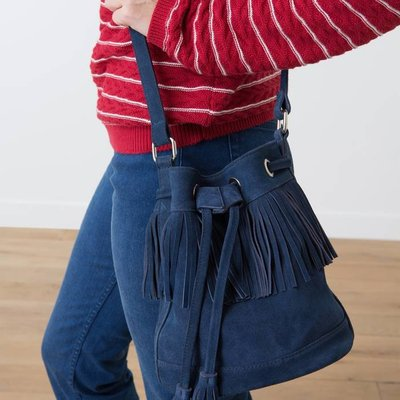 Woman's leather bucket bag with fringe, HERBES
