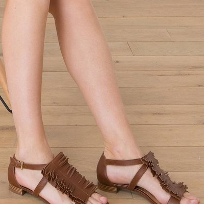 Smooth leather sandals with small fringe, HORTON