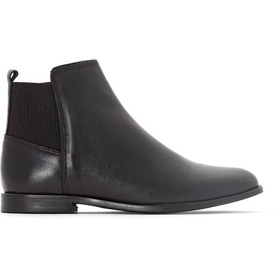 Leather Ankle Boots with Elastic Detail
