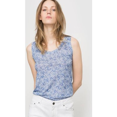 Floral Printed Pure Linen Vest Top