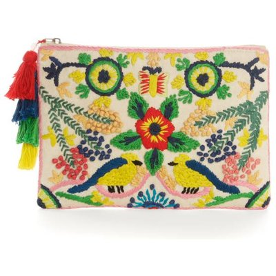 Embroidered Pompom Clutch Bag