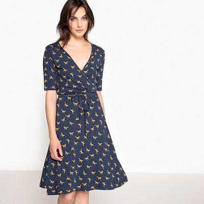 Fox Print Wrapover Dress