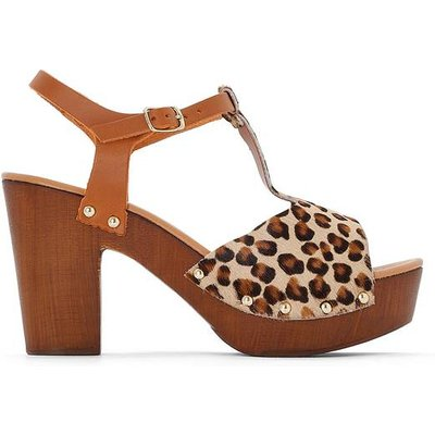 Leopard Print Leather Platform Sandals