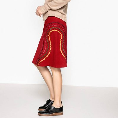 Knee-Length Skirt with Embroidery