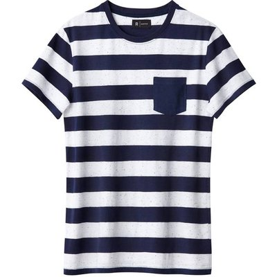 Cotton Mix Striped Crew Neck T-Shirt