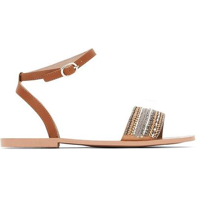Flat Leather Sandals with Bead Detail