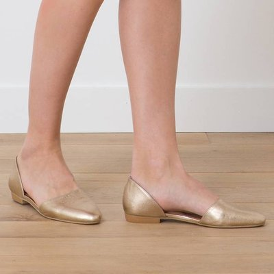 Ballerina flats in golden iridescent leather with cut outs, HUERTA