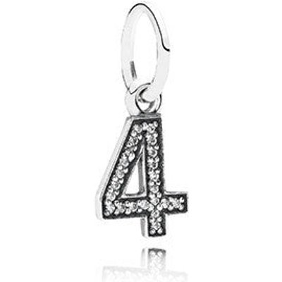 PANDORA Silver and Zirconia Number Four Pendant Charm