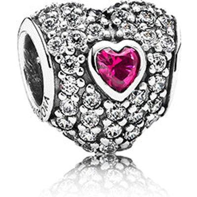 PANDORA British Heart Foundation Red Pavé Triple Heart Charm