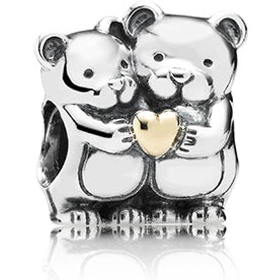 PANDORA Silver and Gold Bear Hug Charm