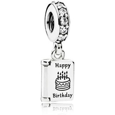 PANDORA Silver and Cubic Zirconia Birthday Wishes Pendant Charm
