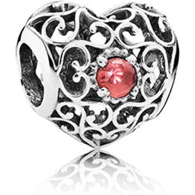 PANDORA Silver and Garnet January Signature Heart Birthstone Charm