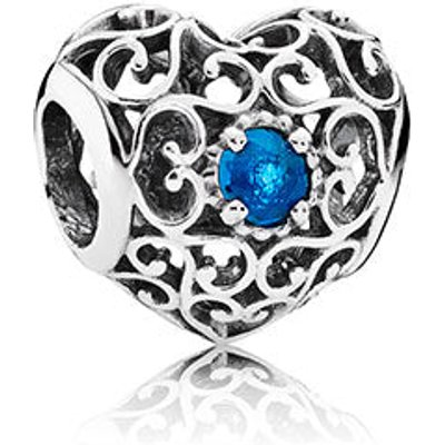 PANDORA Silver December Signature Heart Birthstone Charm