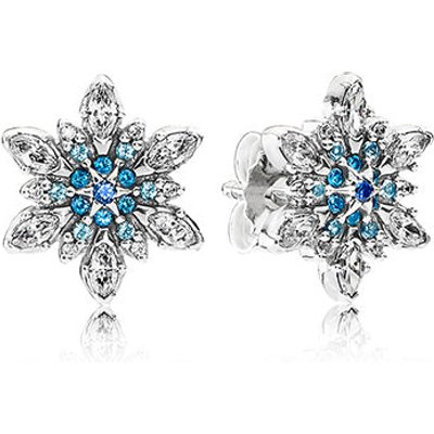 PANDORA Silver Crystallised Snowflake Stud Earrings