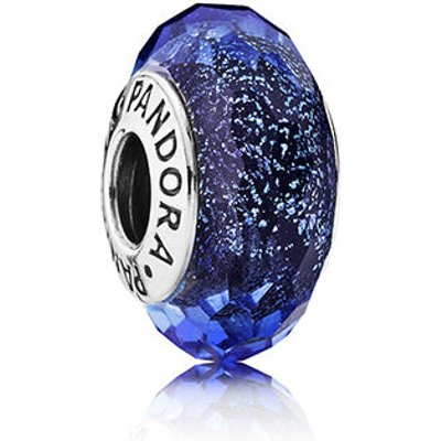 PANDORA Silver Iridescent Blue Faceted Glass Murano Charm
