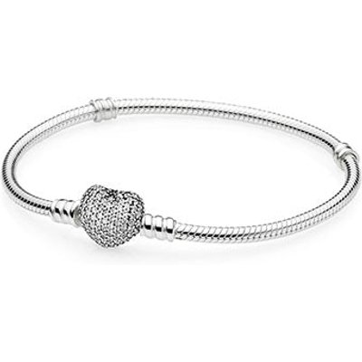 PANDORA Moments Silver Bracelet With Pave Heart Clasp