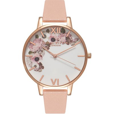Olivia Burton Enchanted Garden Dusty Pink, White and Rose Gold Watch