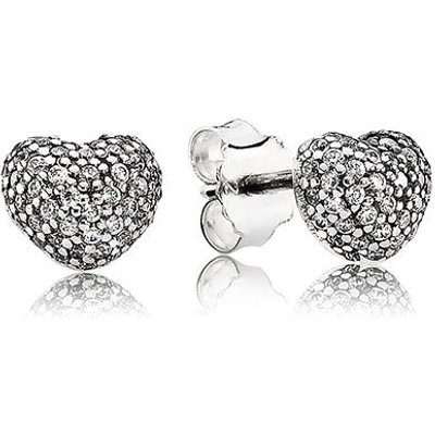 PANDORA Silver and Zirconia Pavé Heart Stud Earrings