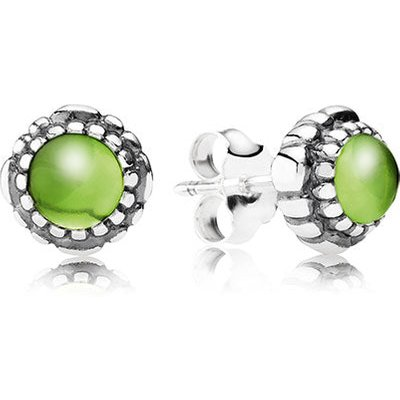 PANDORA Silver Peridot Stud Earrings, August Birthstone Studs
