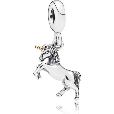PANDORA Silver and 14ct Gold Unicorn Drop Charm