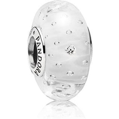 PANDORA Zirconia and White Fizzle Murano Glass Charm