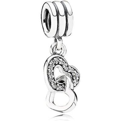PANDORA Silver and Zirconia Interlocking Heart Pendant Charm