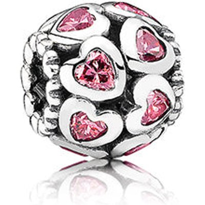 PANDORA Silver and Pink Cubic Zirconia Sparkling Openwork Heart Charm