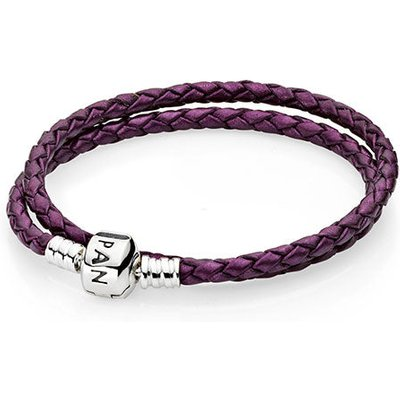 PANDORA Silver and Purple Leather Double Bracelet