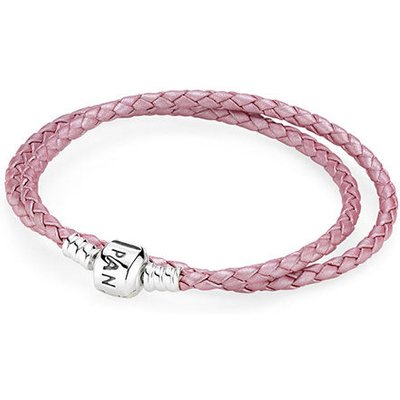 PANDORA Silver and Pink Leather Double Bracelet