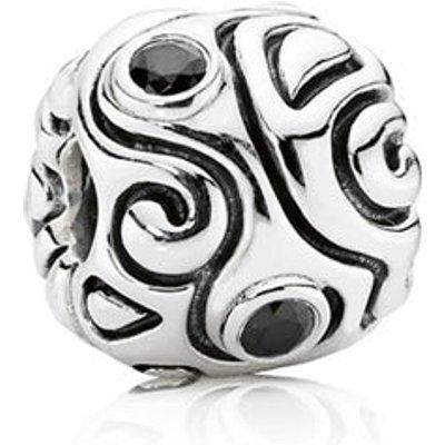 PANDORA Silver and Black Zirconia Pattern Charm