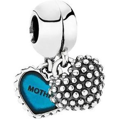 PANDORA Silver and Blue Enamel Mother and Son Heart Drop Charm