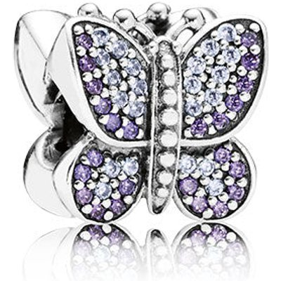 PANDORA Silver and Zirconia Purple Pave Sparkling Butterfly Charm