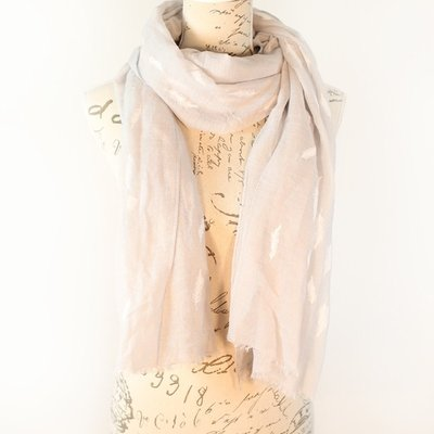 Bella Mia Embossed Feathers Pale Grey Scarf