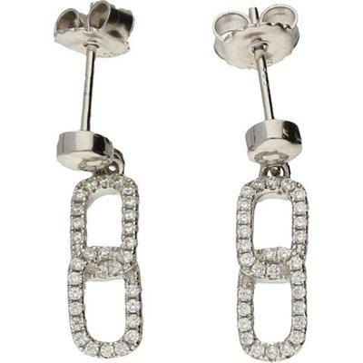 Hush Dbl Oval Linked Cz Silver Earrings