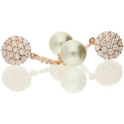 Hush Round Pavé Cz With Faux Pearl in Rose Gold