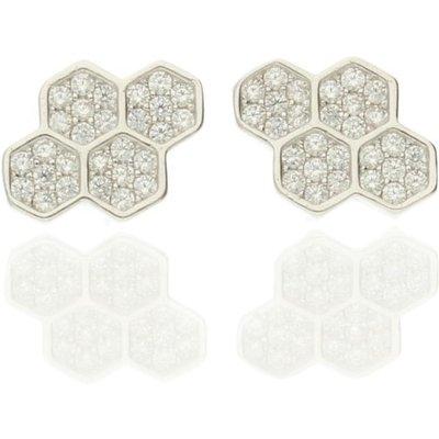 Darcey Sterling Silver Pavé Asymetrical Cubic Zirconia Stud Earrings