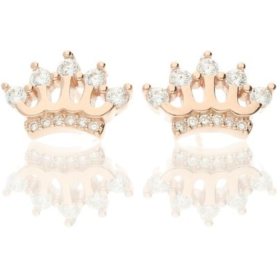Darcey Shimmering Crown Stud Earrings In Sterling Silver And Cubic Zirconia