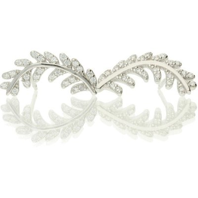 Darcey Elegant Leaf Earrings Studs In Sterling Silver And Cubic Zirconia