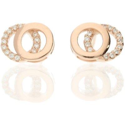 Darcey Interlocking Circle Stud Sterling Silver Earrings Rose Gold