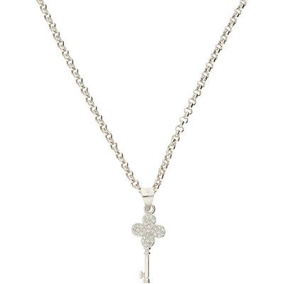 Darcey Clover Key Pendant In Sterling Silver With Class AAA Cubic Zirconia