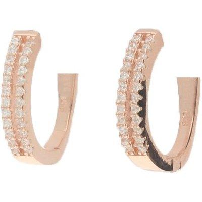 Darcey Refined Pavé Crystal Latch Back Hoop Earrings in Rose Gold